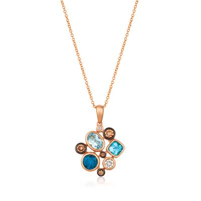 14K Strawberry Gold® Blue Topaz 7/8 cts., Deep Sea Blue Topaz™ 1/2 cts. Pendant with Chocolate Diamonds® 1/6 cts., Vanilla Diamonds® 1/10 cts. | YQXM 87